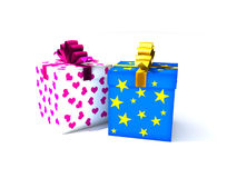 Isolated gift box. 3d illustration on white Stock Images