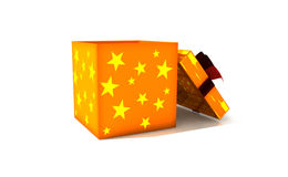 Isolated gift box. 3d illustration on white Royalty Free Stock Photos