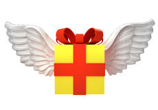 Isolated gift box with angelic wings transport on white Stock Photography