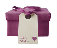 Isolated Gift Box with Handwritten Label - Orchid Royalty Free Stock Images