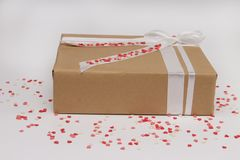 Isolated gift box with hearts stock images
