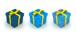 Isolated gift box set. 3d illustration on white Royalty Free Stock Images