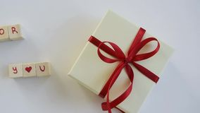 Isolated gift box with `For you` on text. White background stock video