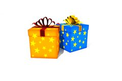 Isolated gift boxes. Gift boxes - 3d isolated illustration on white Royalty Free Illustration