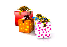 Isolated gift boxes. 3d render illustration on white Vector Illustration