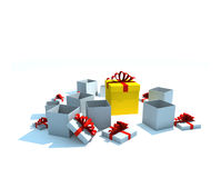 Isolated gift boxes. Gift boxes - 3d isolated illustration on white Stock Images