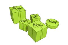 Isolated gift boxes. Gift boxes - 3d isolated illustration on white Royalty Free Stock Photo
