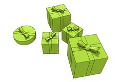 Isolated gift boxes. Gift boxes - 3d isolated illustration on white Royalty Free Stock Image