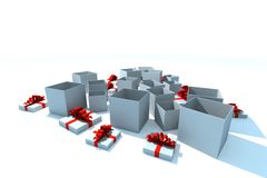 Isolated gift boxes. Gift boxes - 3d isolated illustration on white Royalty Free Stock Photos
