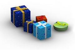 Isolated gift boxes. Gift boxes - 3d isolated illustration on white Royalty Free Stock Photography