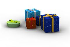 Isolated gift boxes. Gift boxes - 3d isolated illustration on white Stock Illustration