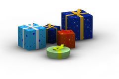 Isolated gift boxes. 3d render on white Royalty Free Stock Photography