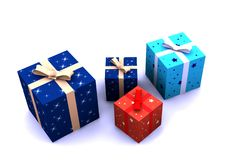 Isolated gift boxes. 3d render on white Stock Photography