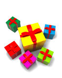 Isolated gift boxes. 3d render on white Stock Photos
