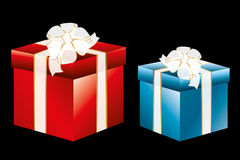 Isolated gift boxes on black. Two isolated gift boxes in red and blue with translucent ribbons - high detailed illustration (could be useful for designers stock illustration