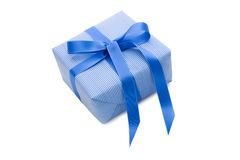 Isolated Giftbox with blue striped wrapping paper. For christmas or birthday royalty free stock images