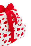 Isolated Giftboxes wrapped in heart patterned paper Royalty Free Stock Photography