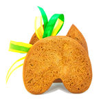 Isolated gingerbread cookie back with bow Stock Image