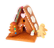 Isolated gingerbread house Royalty Free Stock Photos
