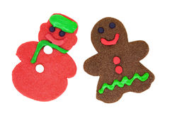 Isolated Gingerbread Man and Snowman Cookies Stock Image