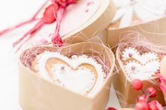 Isolated gingerbread valentine cookie heart. Set of homemade isolated gingerbread valentine cookie hearts Royalty Free Stock Photography