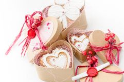 Isolated gingerbread valentine cookie heart. Set of homemade isolated gingerbread valentine cookie hearts Stock Images