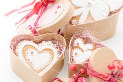 Isolated gingerbread valentine cookie heart. Set of homemade isolated gingerbread valentine cookie hearts Royalty Free Stock Image