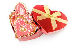 Isolated gingerbread valentine cookie heart Stock Photo