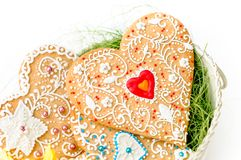 Isolated gingerbread valentine cookie heart Royalty Free Stock Image