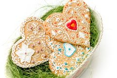 Isolated gingerbread valentine cookie heart Royalty Free Stock Photography