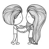 Isolated girl and boy cartoon design. Girl and boy cartoon  icon. Couple relationship family love and romance theme. Isolated design. Vector illustration Stock Image