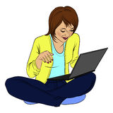 Isolated girl with a laptop sitting in the style of pop art somiks on a white background, online shopping Royalty Free Stock Images