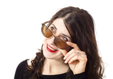 Beauty girl and her glasses. Royalty Free Stock Image