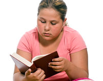 Isolated Girl Reading Stock Images