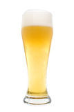 Isolated Glass of Beer. A foamy glass of beer, isolated on a white background stock photo