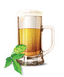 Isolated glass of beer with drops. Realistic mug. Vector illustration. Royalty Free Stock Photography