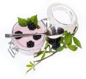 Isolated glass with Blackberry Yogurt Stock Photo