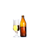 Isolated Glass and Brown bottle of beer on a white Stock Photos