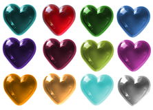 Isolated Glass Hearts in various colours Royalty Free Stock Image