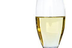 Isolated glass of white wine. Close up of glass of white wine with white background Royalty Free Stock Photo