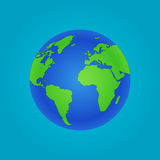 Isolated Globe icon and green map Stock Photos