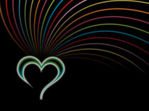 Isolated glossy heart with colorful lines Royalty Free Stock Image