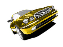 Isolated gold car front view Stock Photos