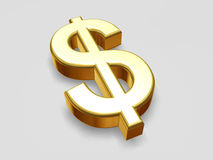 Isolated gold Dollar. Sign with shadow Stock Photo