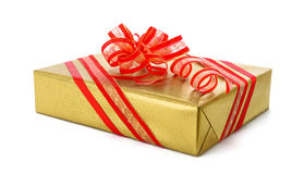 Free Isolated Gold Gift Box With Red Bow Royalty Free Stock Photo - 60324775