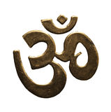 Isolated gold Hindu Aum. Sign Stock Photo