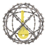 Isolated gold key in barbed wire sphere Stock Photos
