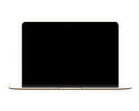 Isolated gold laptop computer on white background Stock Photo