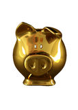 Isolated gold piggy bank Royalty Free Stock Photo