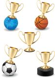 Isolated gold shiny trophy cup icon sport set Stock Photos